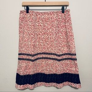 {Anthropologie} Odille Red Berry Skirt w/ Lace